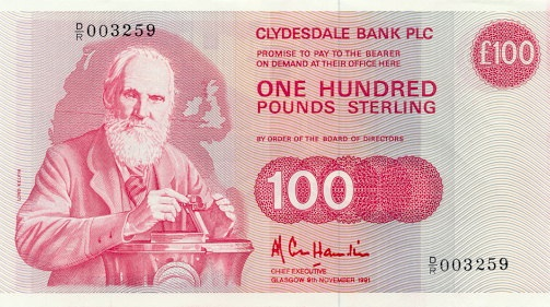 Lord Kelvin William Thompson Ears On The Scottish 100 Pound